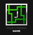 silver letter j logo symbol in the square maze vector image vector image