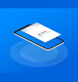 simple browser window on smartphone on blue vector image vector image