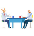 sloth and rabbit in office hipster animal vector image