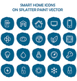 Smart home icons on blue splatter paint Flat icons vector image