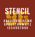 stencil font 007 vector image vector image