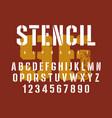 stencil font 007 vector image vector image