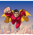superhero coming at you in city vector image