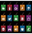 tag icons on black vector image vector image