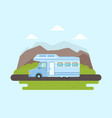 travel van packed and ready to set off on journey vector image vector image