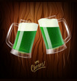 two mugs with green beer clinking glasses st vector image