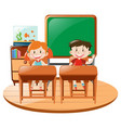 two students in classroom vector image vector image
