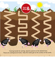 underground moles want to choose outside draw a vector image vector image