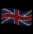 waving uk flag pattern of library building items vector image
