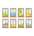 windows with landscapes vector image vector image