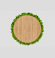 wooden round background with green leaves behind vector image vector image