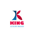 logo of king luxury brand vector image