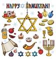 Hanukkah symbolsDoodle colored Jewish Holiday set vector image