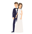 a romantic pose of young married couple vector image vector image