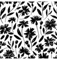 black flowers with stems seamless pattern vector image vector image