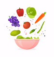 bowl of fresh vegetable salad healthy food flat vector image vector image