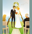 bride and groom wedding ceremony on beach by vector image vector image