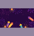bright background with fireworks and rockets vector image vector image