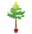 cartoon christmas tree in a pot little christmas vector image