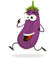 cartoon happy eggplant character vector image vector image