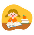 children girl studying with books and apple vector image
