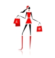 Christmas shopping santa girl with gifts vector image vector image