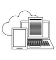 cloud computing laptop and tablet with documents vector image vector image