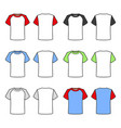 colored t-shirts set on white background vector image vector image