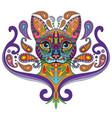colorful ornamental cat 2 vector image