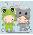 Cute Cartoon boy and girl vector image vector image