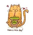 cute cat coffee break 2 vector image vector image