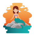 cute mermaid cartoon vector image vector image