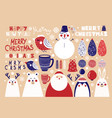 cute set of christmas elements vector image