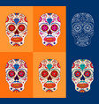 day of the dead sugar skulls set mexican day of vector image vector image