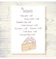 Dessert menu template with sweet vanilla cake vector image vector image