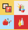 digital red furniture icons vector image vector image