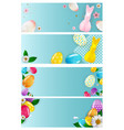 easter empty poster template set with 3d vector image
