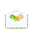 Envelope with clover in Irish flag color for St vector image vector image