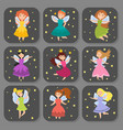 fairy princess adorable characters cards vector image