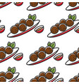 felafel on plate and sauce seamless pattern vector image vector image