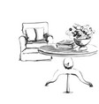 furniture sketch chair and table with books and vector image vector image