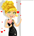 Girl in evening dress with sweet-heart candy vector image vector image