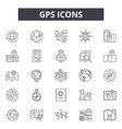 gps line icons signs set outline vector image vector image