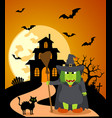 halloween background with witch and full moon vector image vector image