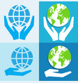 hands holding green earth globe save the world vector image