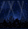 houses silhouettes on winter night starry sky vector image