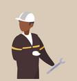 industrial worker black avatar character vector image vector image