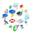 insurance icons set isometric 3d style vector image vector image