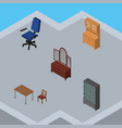 isometric furniture set of drawer cupboard vector image vector image
