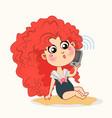 little cartoon with smartphone vector image